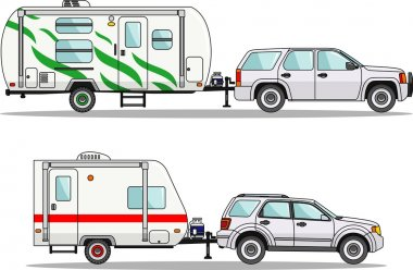Set of travel trailer caravans on a white background in flat style. Vector illustration.