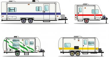 Detailed illustration of travel trailer caravans in flat style stock vector