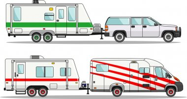 Set of car and travel trailers on a white background in flat style. Vector illustration.