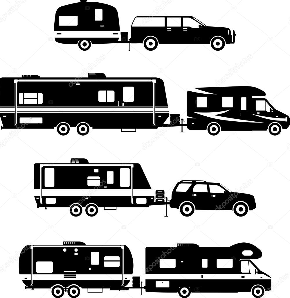 Set Of Different Silhouettes Travel Trailer Caravans On A White Background Vector Illustration