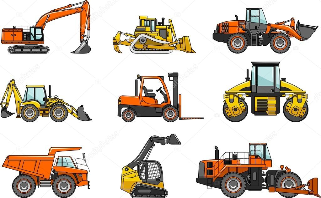 Set of heavy construction machines isolated on white background in flat style. Vector illustration