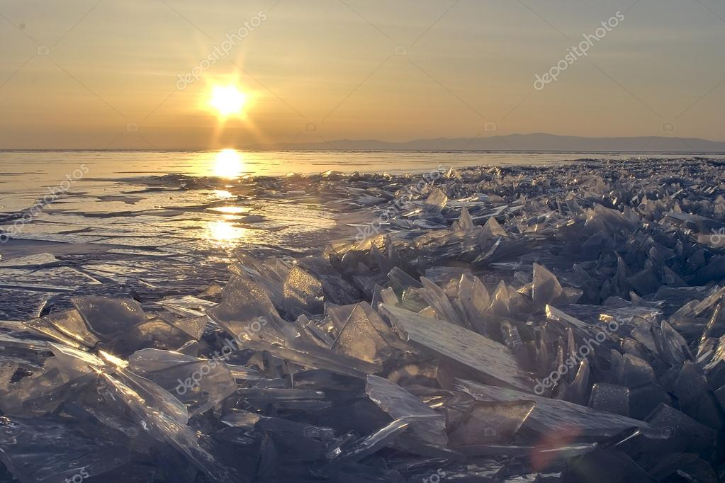 Surface of Baikal Lake in winter