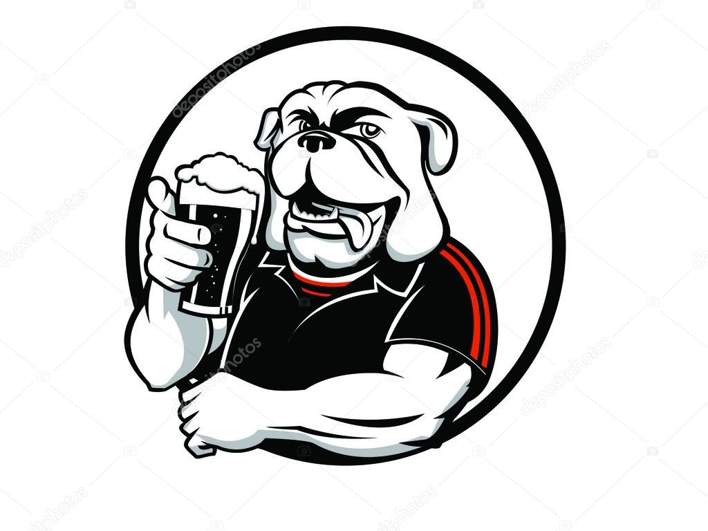 Cool Dog Drinking Beer Clip Art