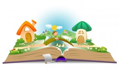 Open book with boy and fairy landscape