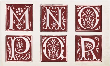 vector set of letters in the old vintage style. Part 3.