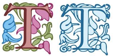 Vintage initials letter T.