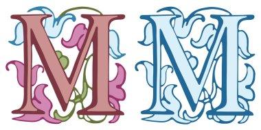 Vintage initials letter M.