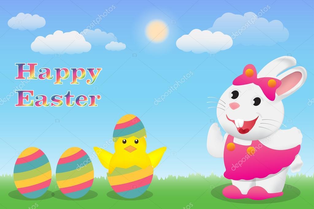 Frohe Ostern mit Hase Küken und Ei — Stockvektor © siiixth #107281648