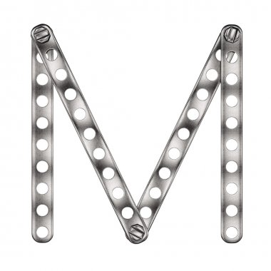 Letter M made from metall construktor.