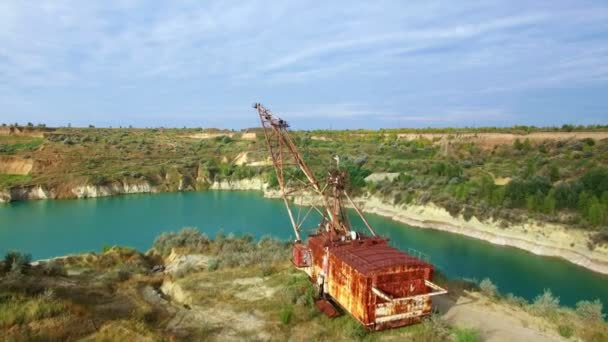 Aerial: giant mining excavator in a quarry