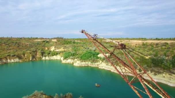 Aerial: giant mining excavator in a quarry