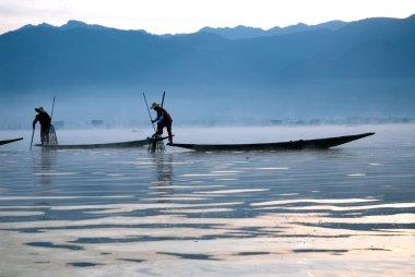 Traditional fishing by net in Inle Lake,Myanmar.