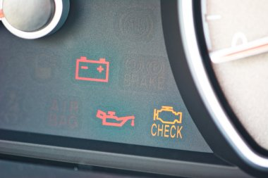 Malfunction or check engine car symbols, dashboard icon