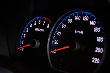 Speedometer on dashboard