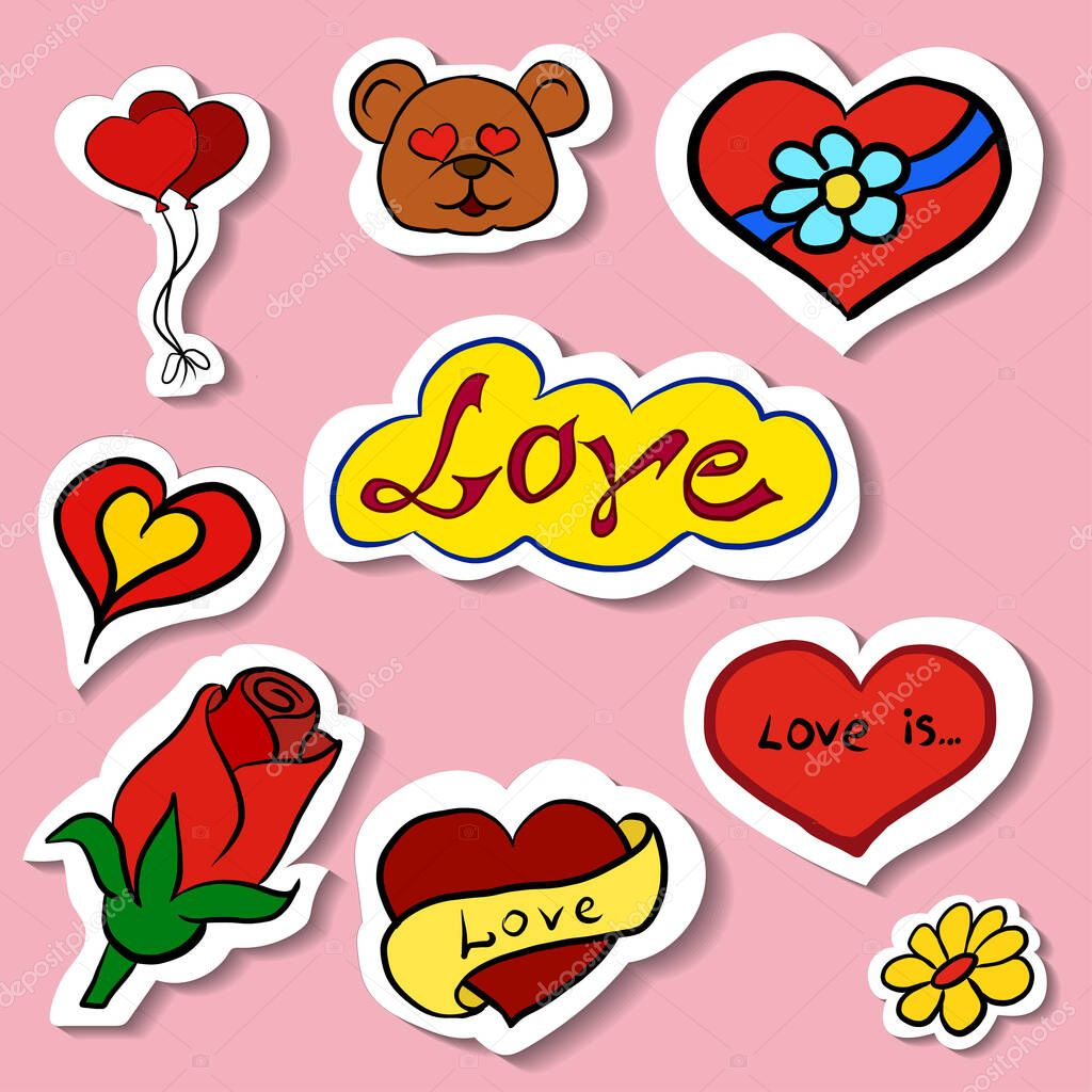 Beautiful love and passion stickers  shiny icons for Valentine's Day  vector elements icon