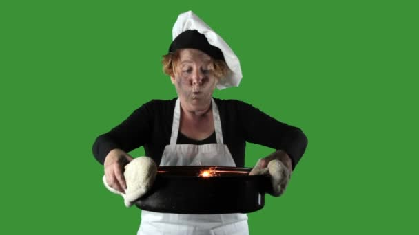 Kitchen Disasters, Woman with Apron and Chefs Hat