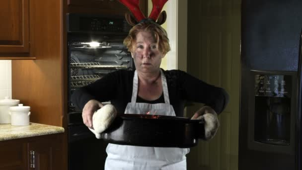 Kitchen Disasters, Woman with Apron and reindeer antlers — Stock ...