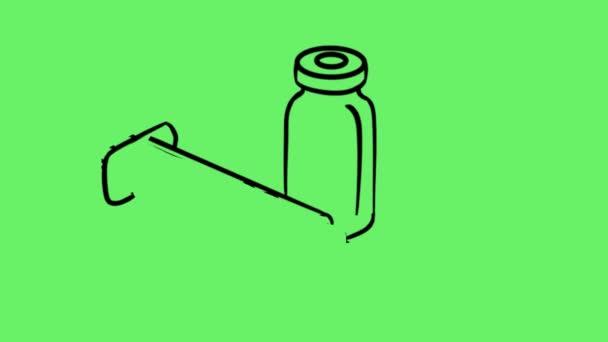 Doodle illustration of vaccine syringe and vial
