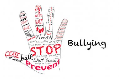 Outline of a hand with the words for Stop along with the word Bullying stock vector