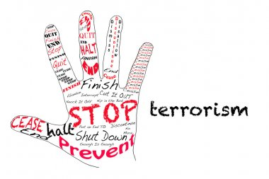 Outline of a hand with the words for Stop along with the word Terrorism stock vector