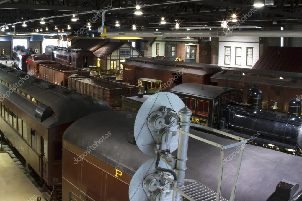 Railyard Filled with Antique Trains — Stock Photo