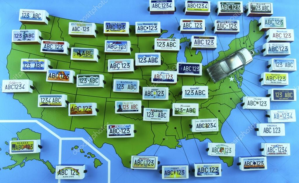 Us State License Plates On Map With Sedan Stock Editorial Photo - Us-plates-map