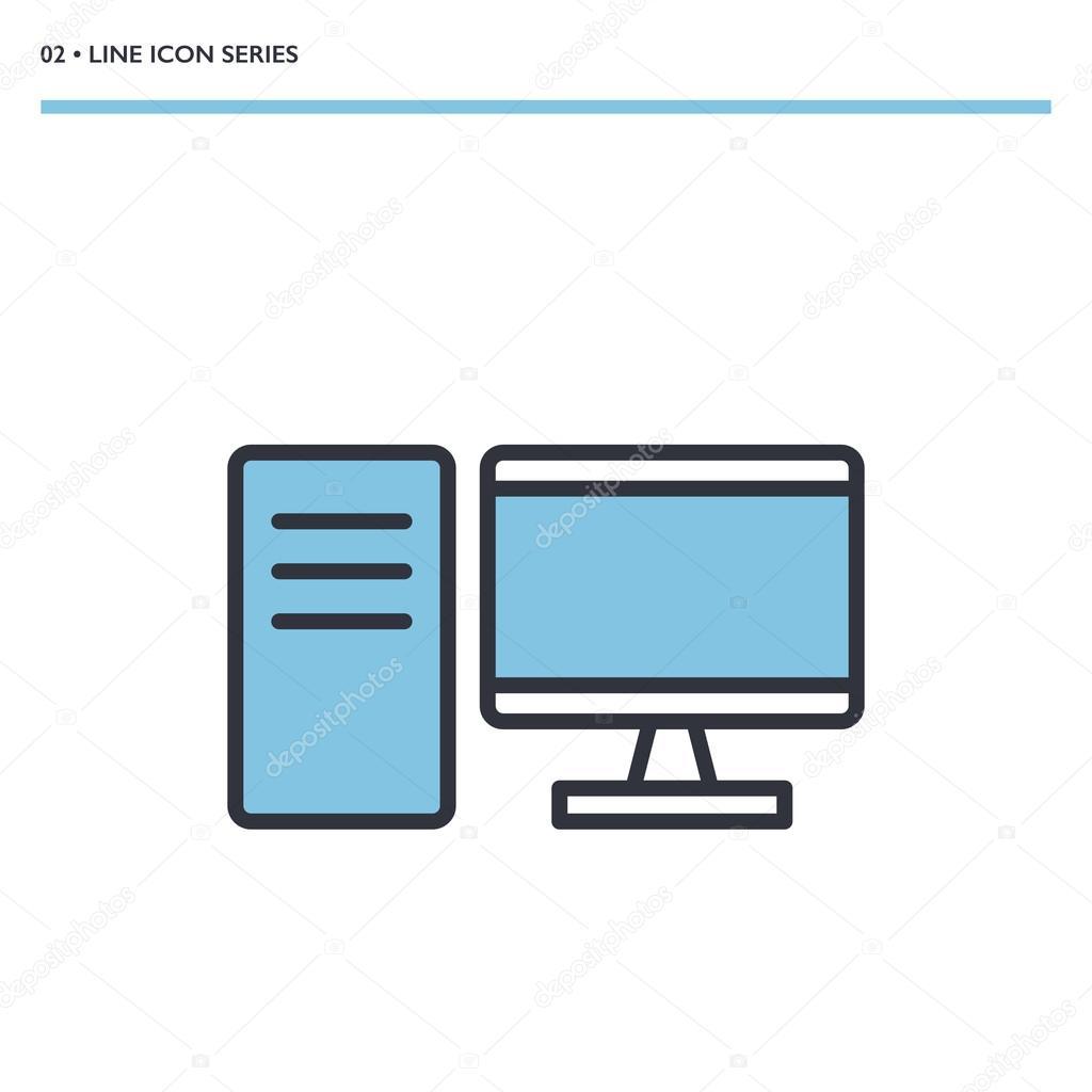 Vector Desktop Computer Icon Stock Vector Gwisl 119406876