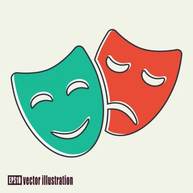 Vector illustration of tragedy and comedy masks