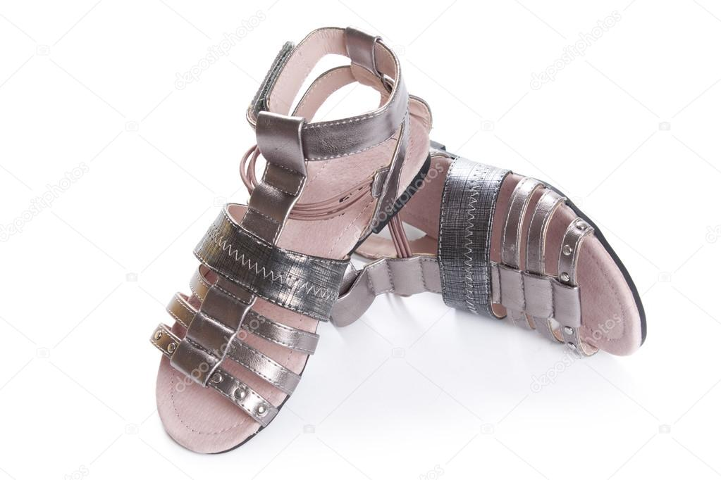 b6d4a72ac Dressy sandals for girls. Isolate on white. — Stock Photo ...