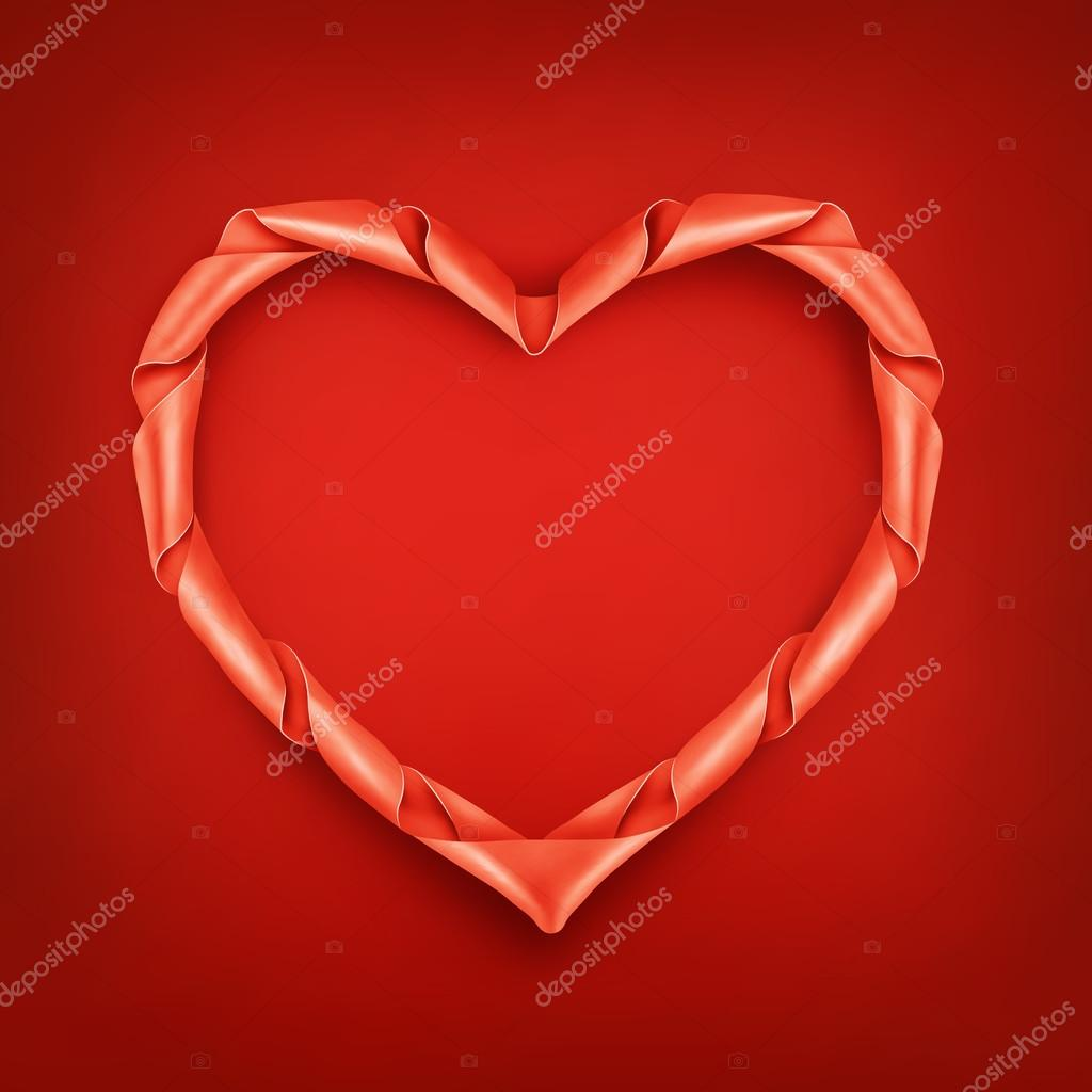 Red Ribbon Heart Shaped Frame Template Stock Vector Nektoetkin