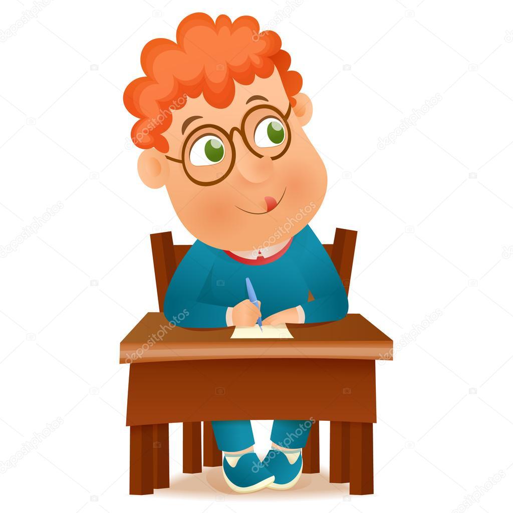 Okul çocuk Masada Oturan Vektör çizim Stok Vektör Nektoetkin