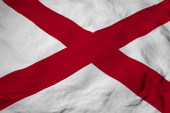 Photo Full frame close-up on a waving flag of Alabama (USA) in 3D rendering.