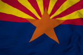 Photo Full frame close-up on a waving flag of Arizona (USA) in 3D rendering.