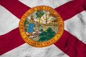 Photo Full frame close-up on a waving flag of Florida (USA) in 3D rendering.