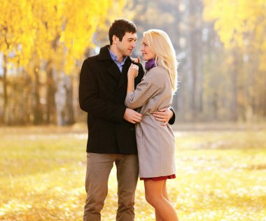 Autumn, love, relationships and people concept - lovely young co
