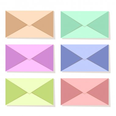 Multicolored envelopes, set isolated on white background. Cute simple envelopes, message symbol. Vector illustration icon