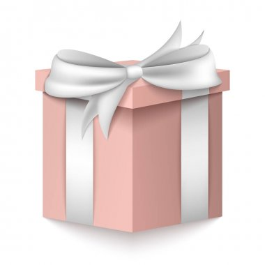 Gift 3D box. Pink box with silver ribbon isolated on white background. icon