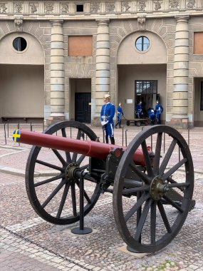 Stockholm, Sweden - June 7, 2019: Antique cannon in front of the Royal Palace in Stockholm