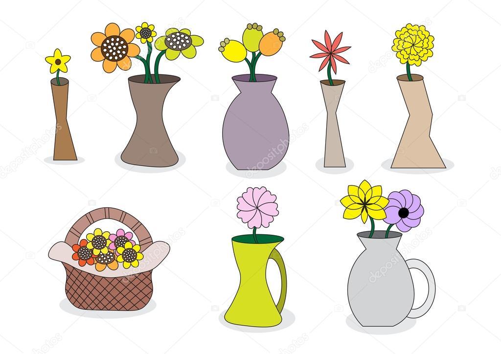 Beautiful Cartoon Flower Vases Stock Vector Jennythip 64804719