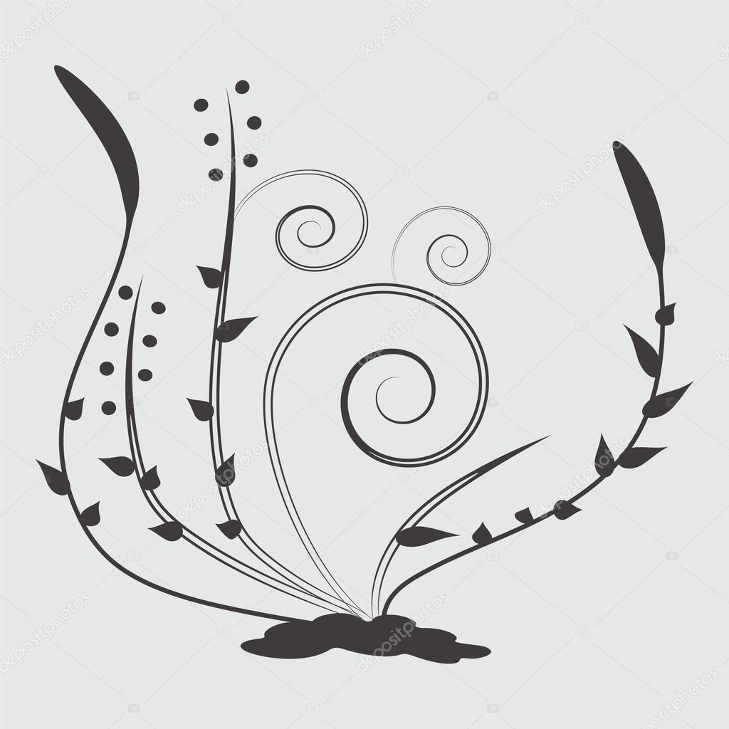 Art De Fleur Noir Dessin Image Vectorielle Jennythip