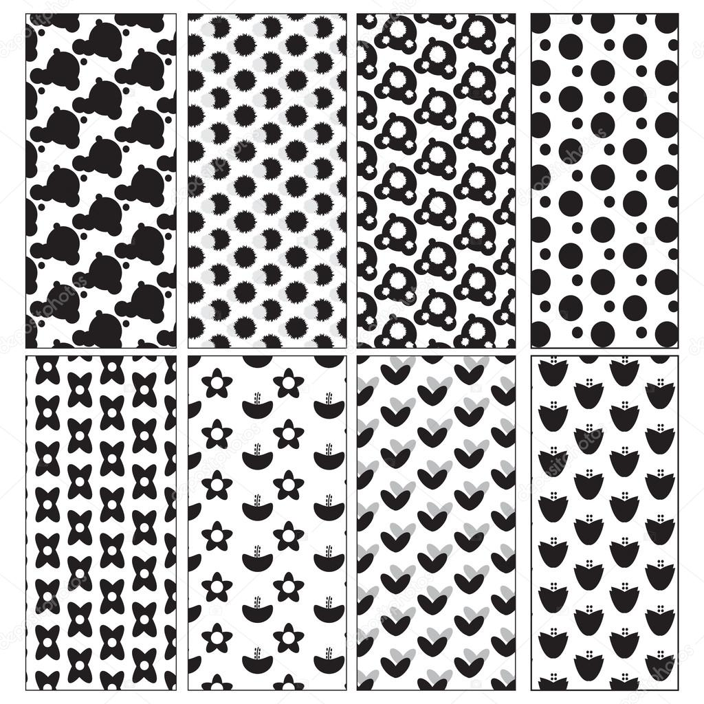 Black And White Cute Patterns Vector Image By C Jennythip Stock 79208830