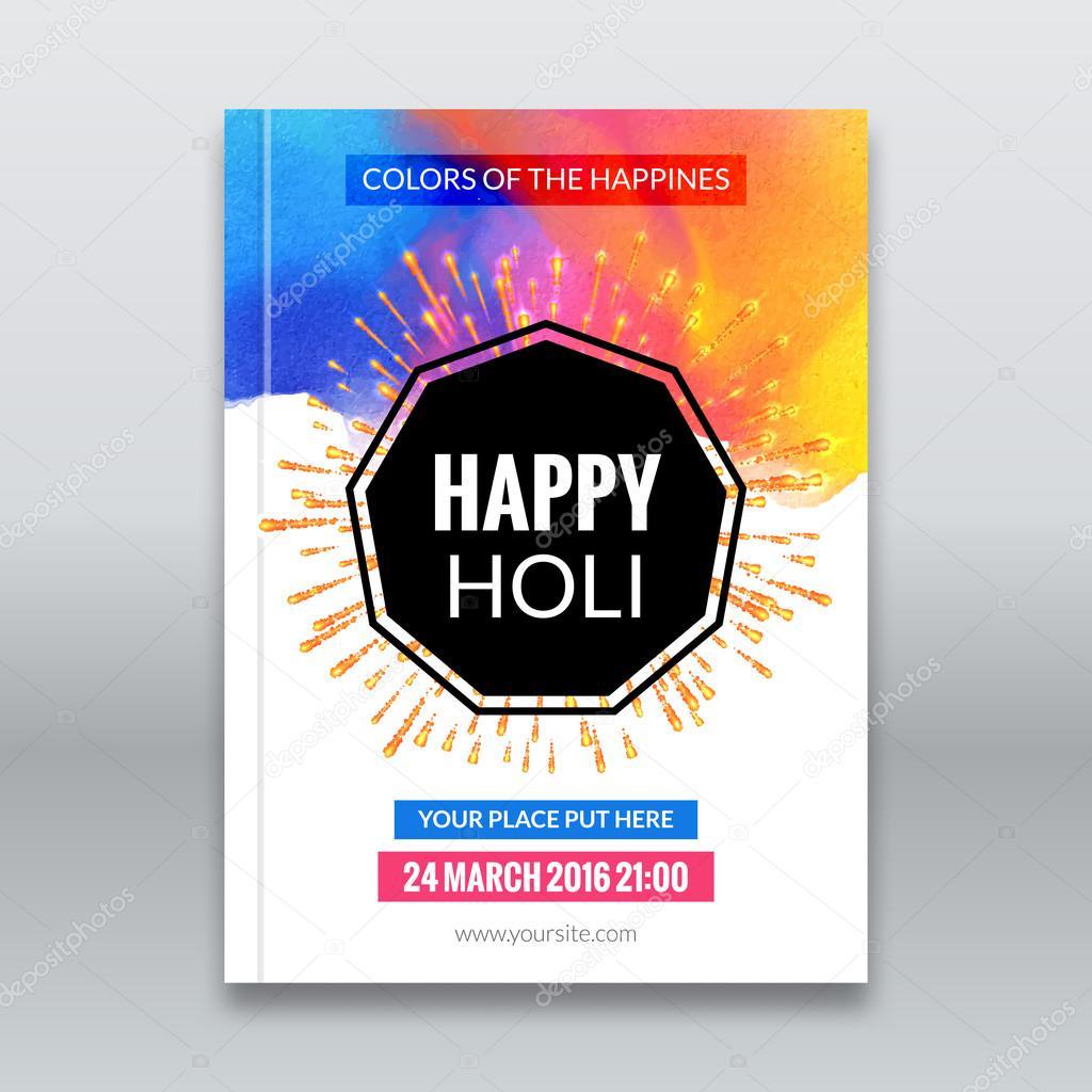 Holi Festival Poster Template For Flyer Brochure Or Invitation