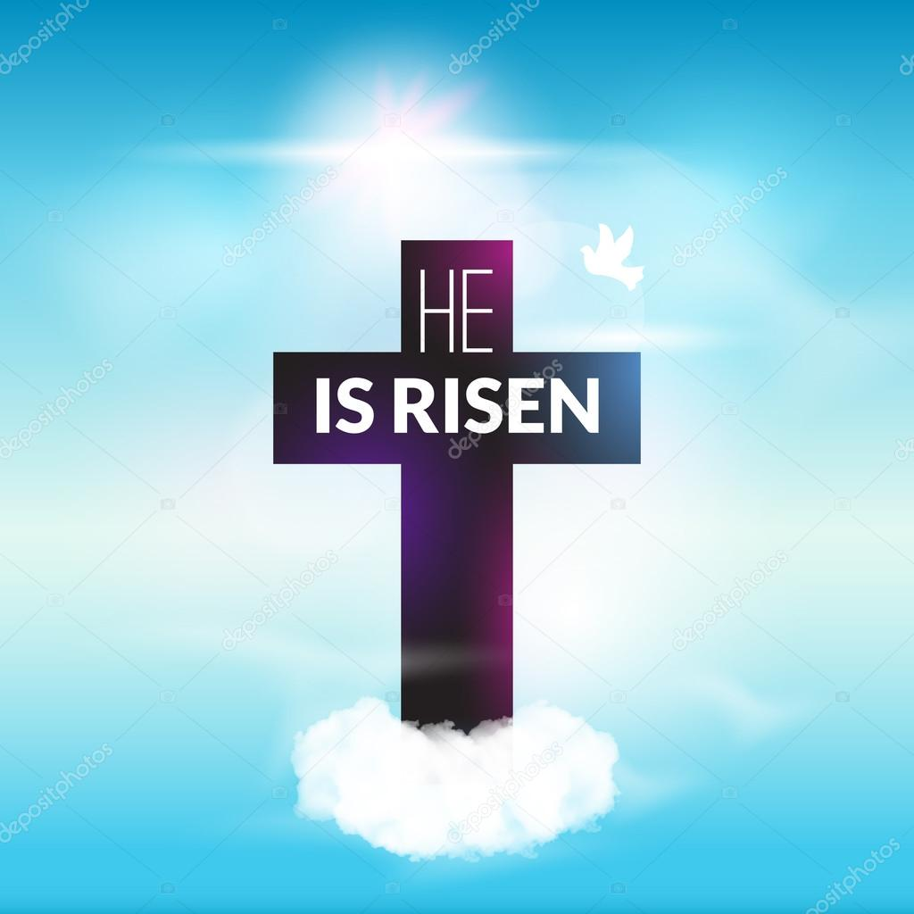 Easter christian celebration He is risen cross sky vector background