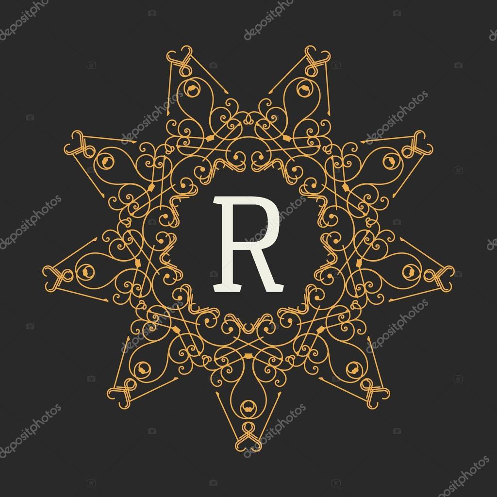 Monogramm-Design-Elemente-Vorlage. Buchstabe-Vintage Emblem oder ...