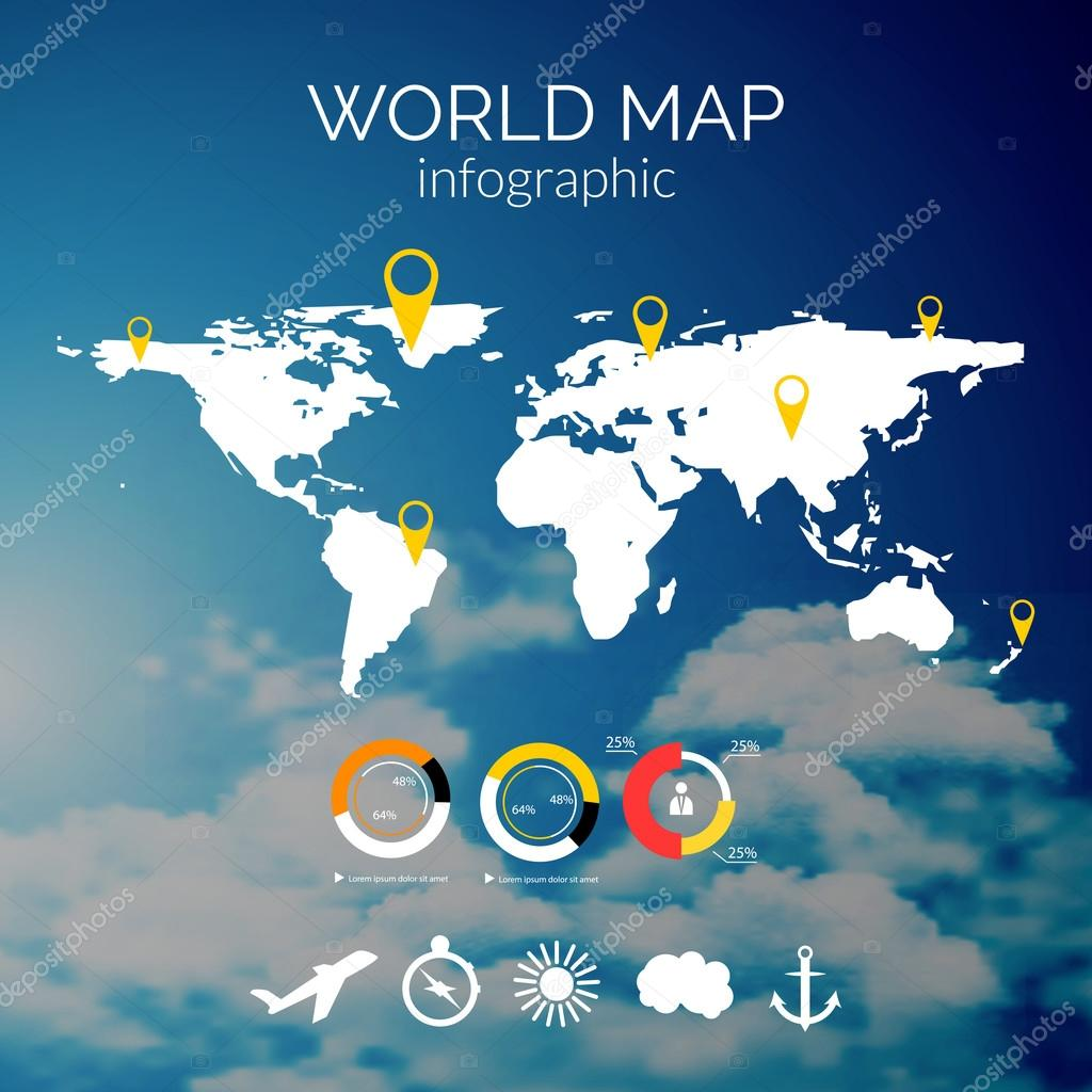 Vector world map illustration and infographics design template on vector world map illustration and infographics design template on cloudy sky background vector de stock gumiabroncs