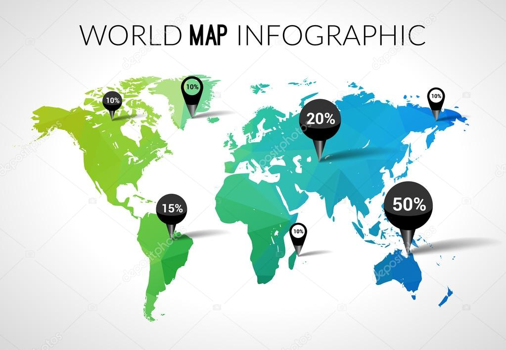 Vector 3d world map with points and percantage triangle green blue vector 3d world map with points and percantage triangle green blue travel globe world map infographic concept vector by vasilyrosca gumiabroncs Images