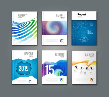 Set of modern geometric triangular and other design style brochure flyer covers template mockup, annual report newsletter for business visual identity