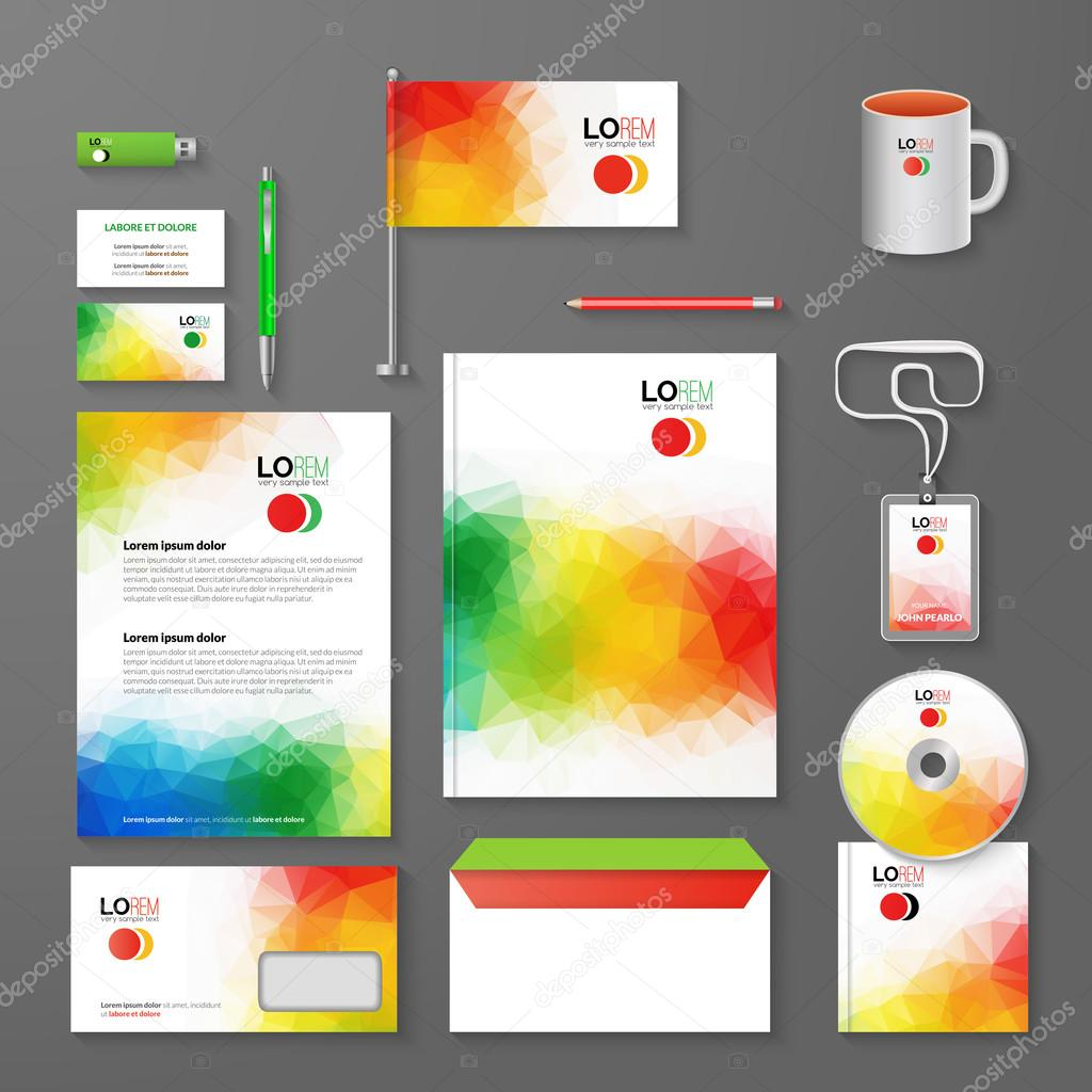 Abstract corporate business identity template layout pen cd cup abstract corporate business identity template layout pen cd cup letter folder business cards vector company triangle style for brandbook and reheart Gallery