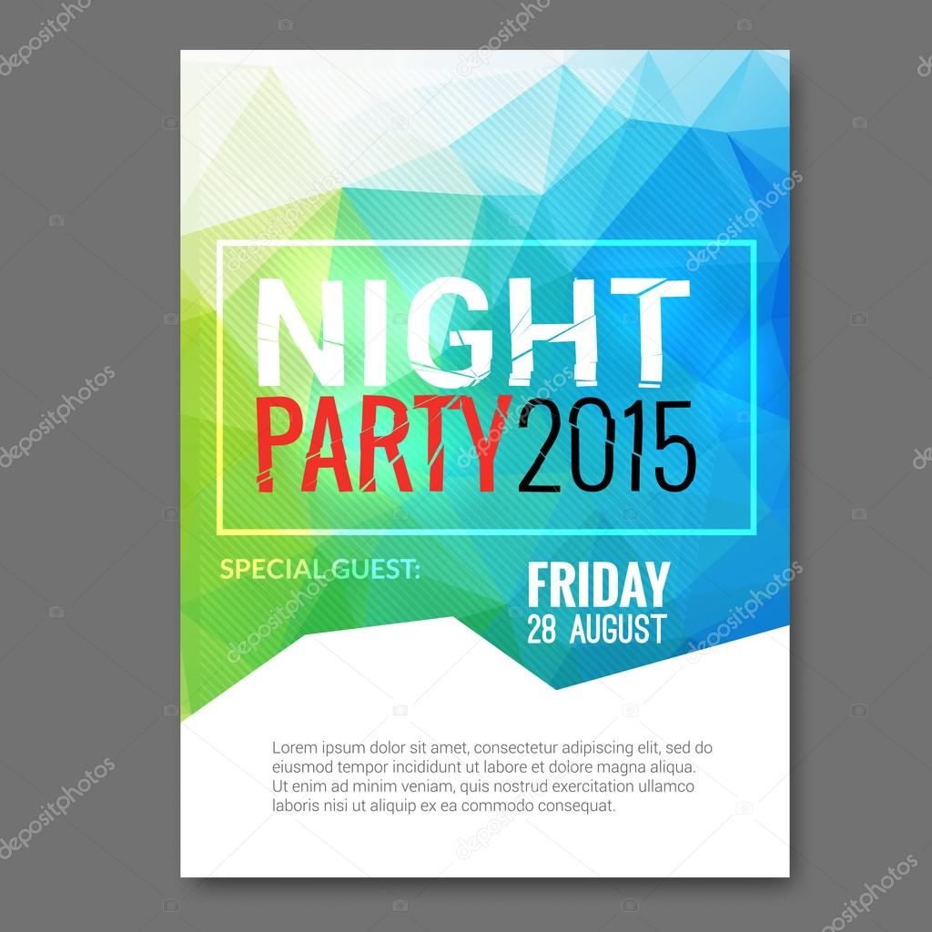 summer night beach party vector flyer template design polygonal