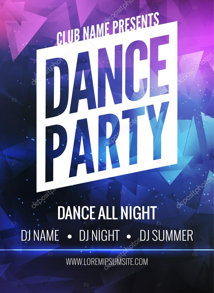 Dance Party Poster Template Night Flyer Club Design On Dark